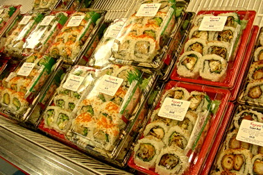 Large variety of freshly made sushi packs. Fujiya Japanese Supermarket. Vancouver, BC
