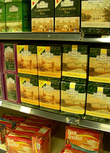 East Indian tea brands with British colonial branding. Basha Foods International, Calgary AB