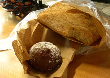 Chocolate sourdough bun --addictive delusion of eating healthier dessert / snack. Calgary Farmers' Market on Heritage Dr. 2011. Photo by J. Chong
