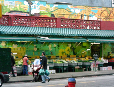 A slice of historic Chinatown. Vancouver, BC. 2010. Mural reflects some aboriginal imagery, indigenous to northwest coast cultural history.Photo by J. Chong