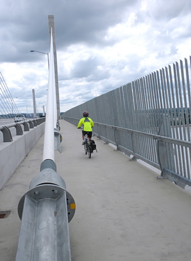 Cycling on Golden Ears Bridge 2010. A 100 km round trip between home and bridge. Photo by HJEH Becker