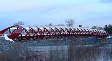 Peace Bridge, Calgary AB 2012. Designed by Spanish architect, Santiago Calatrava. Photo by J.Chong