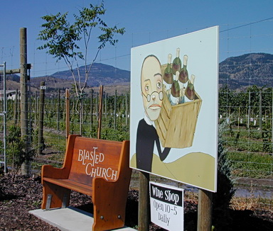 Blasted Church Winery.Okanagan Valley.  Near Oliver, BC. 2005. Tasting room is housed in an old church that was carefully dynamited in the 1920's in order to relocate it at that time. Photo by J. Chong