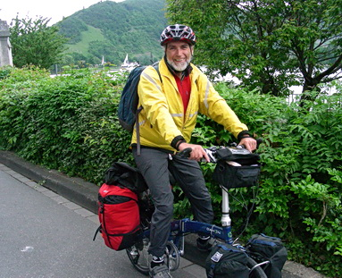 "Cycle-touring by Rhine River along the ""Wine Route in his birthplace area with vineyards and castle ruins. Black Forest Region, southern Germany, 2008."