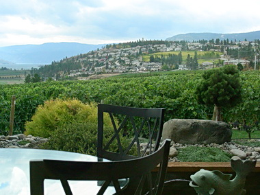 View overlooking vineyards from Quail's Gate Wines' restaurant patio. West Kelowna, BC 2008. Photo by J. Chong