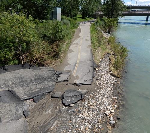 Flood damaged bike path below near Langevin Bridge. Calgary AB 2013. Photo by J. Chong