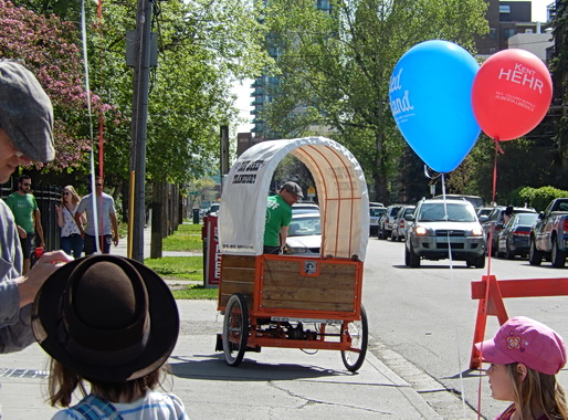 Pedal-powered bike chuckwagon --for festival small load work and garbage container pickup. Calgary AB 2014.